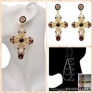 Ornate Goldtone Multi Large Cross Drop Earrings